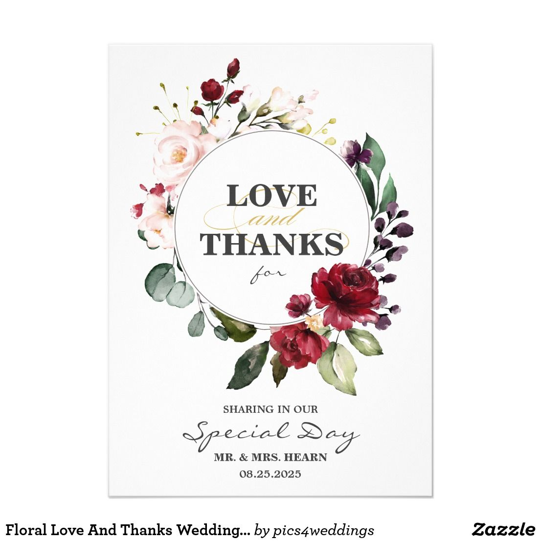 Floral Love And Thanks Wedding Thank You Card Zazzle Com With