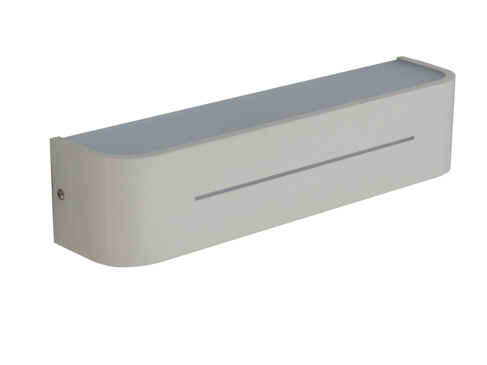 Applique moderno in alluminio verniciato bianco 2 luci e14 max 40w