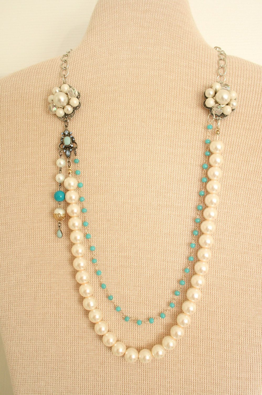 Pearl Wedding Necklace Vintage Repurposed By