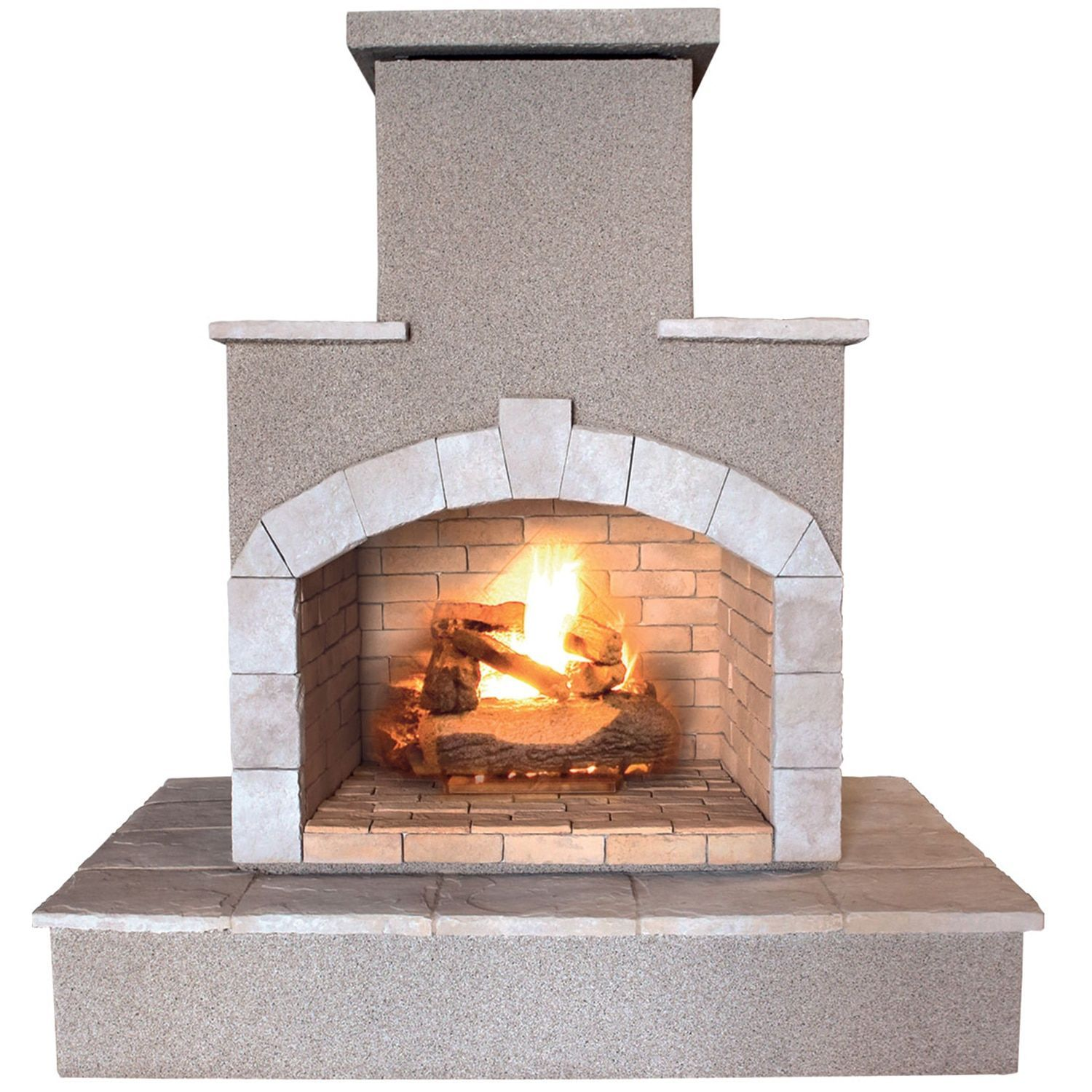Cal Flame 78-inch Propane Gas Outdoor Fireplace, Brown (Stone Finish), Outdoor Décor