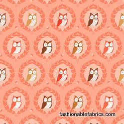 Les Amis Sweet Owlies in Peach by Michael Miller Fabrics