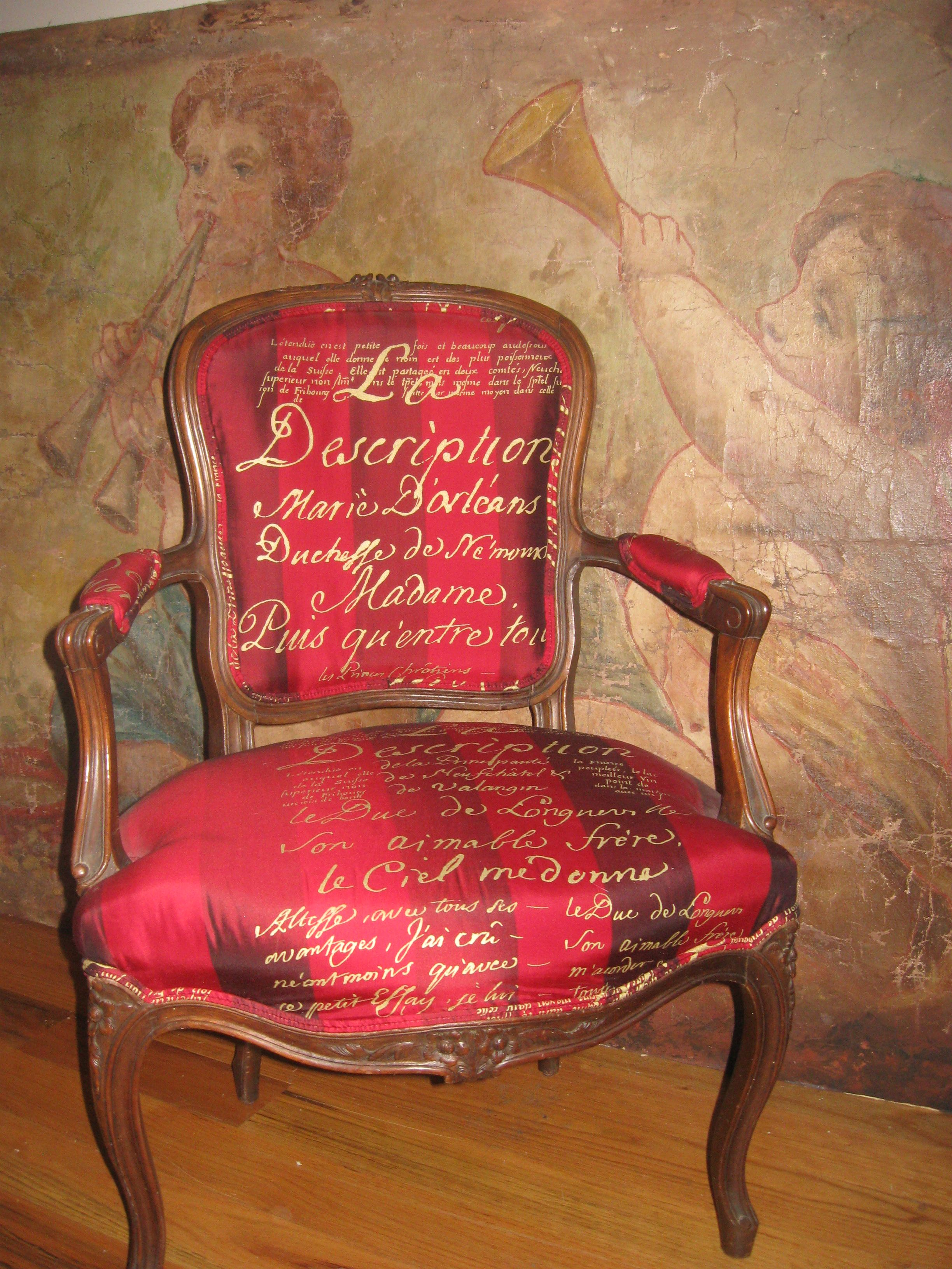 Marilyn monroe french chair - Carolyn Quartermaine French Script Silk On Antique French Chair Antique Hand Painted