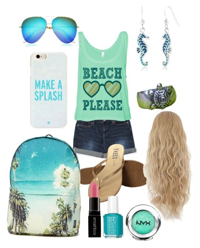 """Daughter of Poseidon"" by emmabaer-1 ❤ liked on Polyvore featuring Tkees, Victoria Beckham, Kate Spade, Bling Jewelry, NOVICA, Smashbox and Essie"