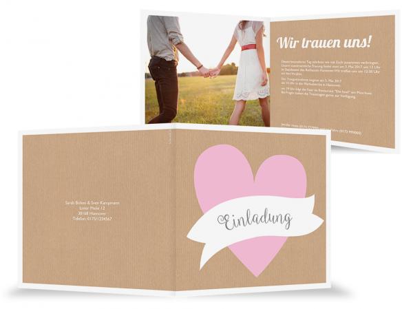 Einladungskarte Hochzeit Herzfahne