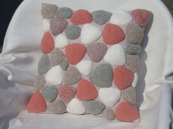 Crochet pillow knit sofa cushion pink grey throw pillow gift for her crocheted couch pillow case pastel knitted pillow cover wedding gift & Crochet pillow knit sofa cushion pink grey throw by OlgaArtShop ... pillowsntoast.com