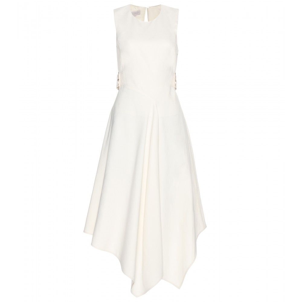 Stella McCartney - Crepe dress - Stella McCartney's off-white dress is the ultimate piece to transition into the new season in. Shaped with a round neckline, it features a floaty skirt that kicks out and drapes asymmetrically from the waist. Keep the gold-tone buckles tight on the sides to accentuate the narrowest point of your waist. seen @ www.mytheresa.com