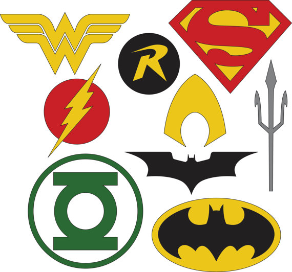 this dc superhero logos set includes 9 logos for various