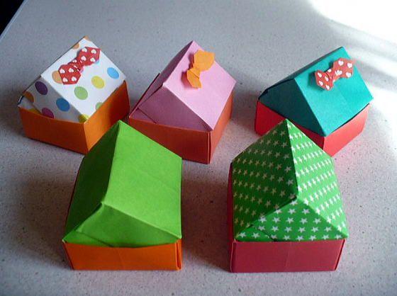 かわいいおうち おりがみやさん 折り紙の箱 ペーパークラフト 折り紙 小物入れ