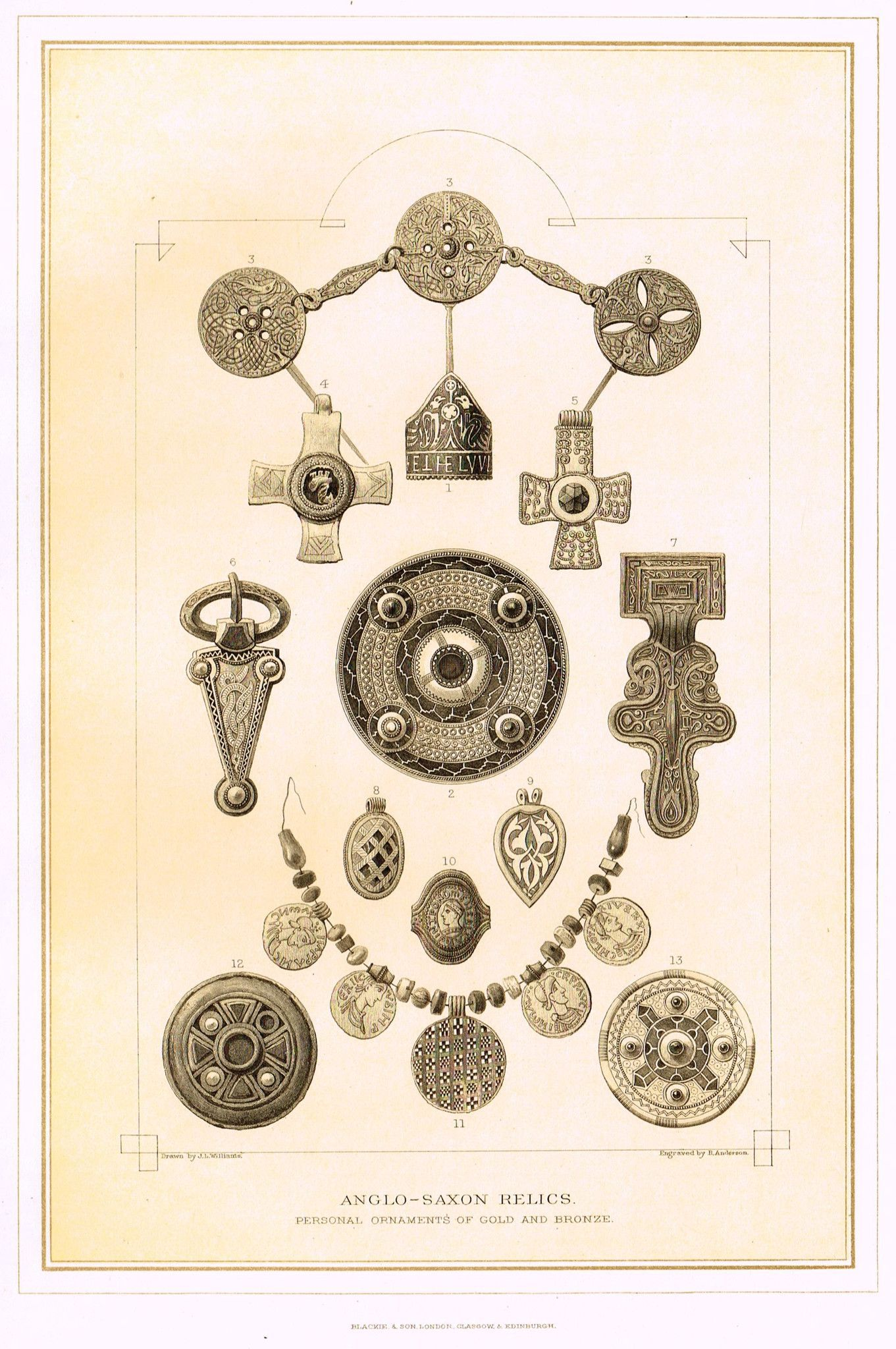 """Archer's Royal Antiquities - """"ANGLO-SAXON RELICS"""" - Tinted Lithograph - 1880                                                                                                                                                                                 More"""