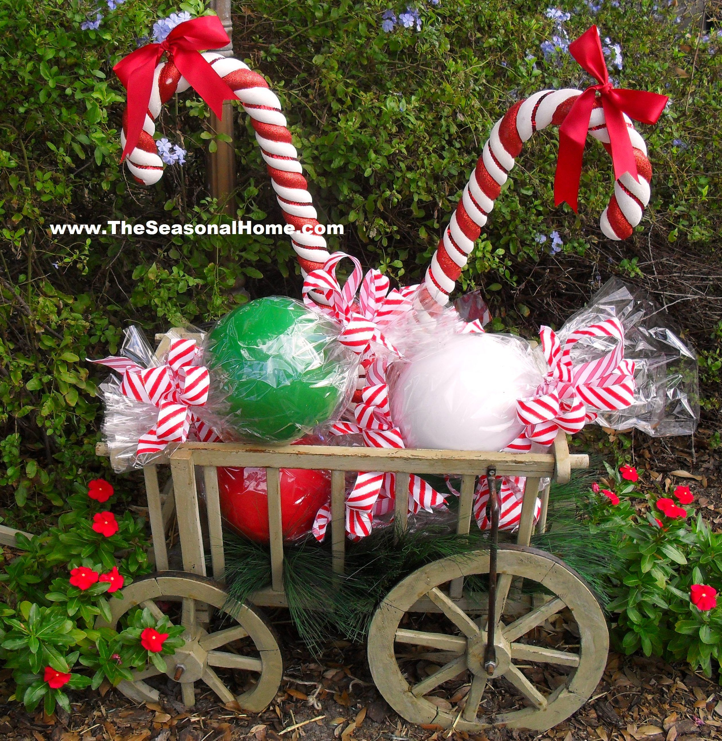 How to diy outdoor candy on the seasonal home blog for Outside xmas decorations