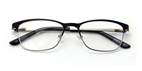 2d49184d2d V.W.E. Women Fashion Stainless Steel Non-prescription Glasses Frame Clear  Lens Metal Eyeglasses - Rectangular Half