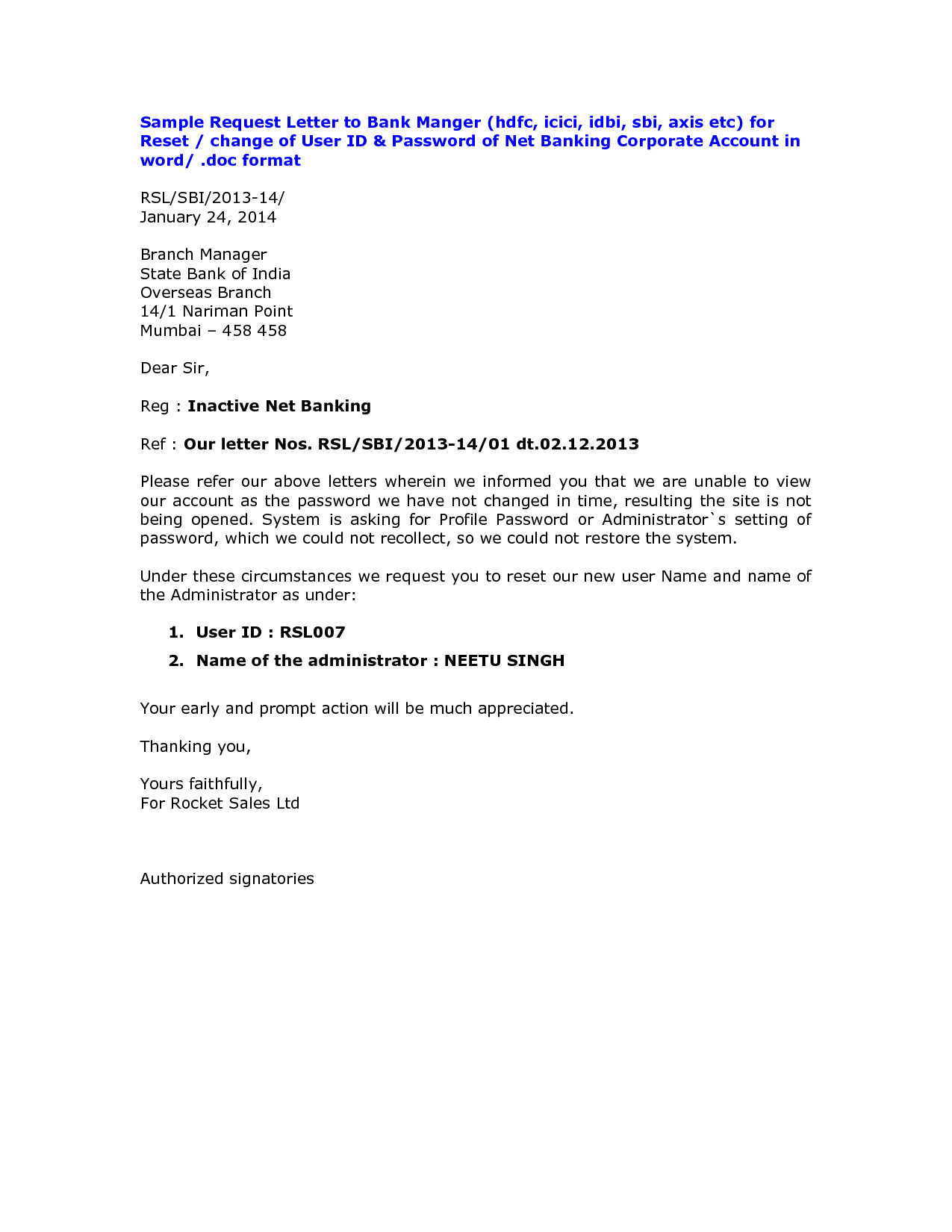 letter authorization activate dormant account axis bank ...