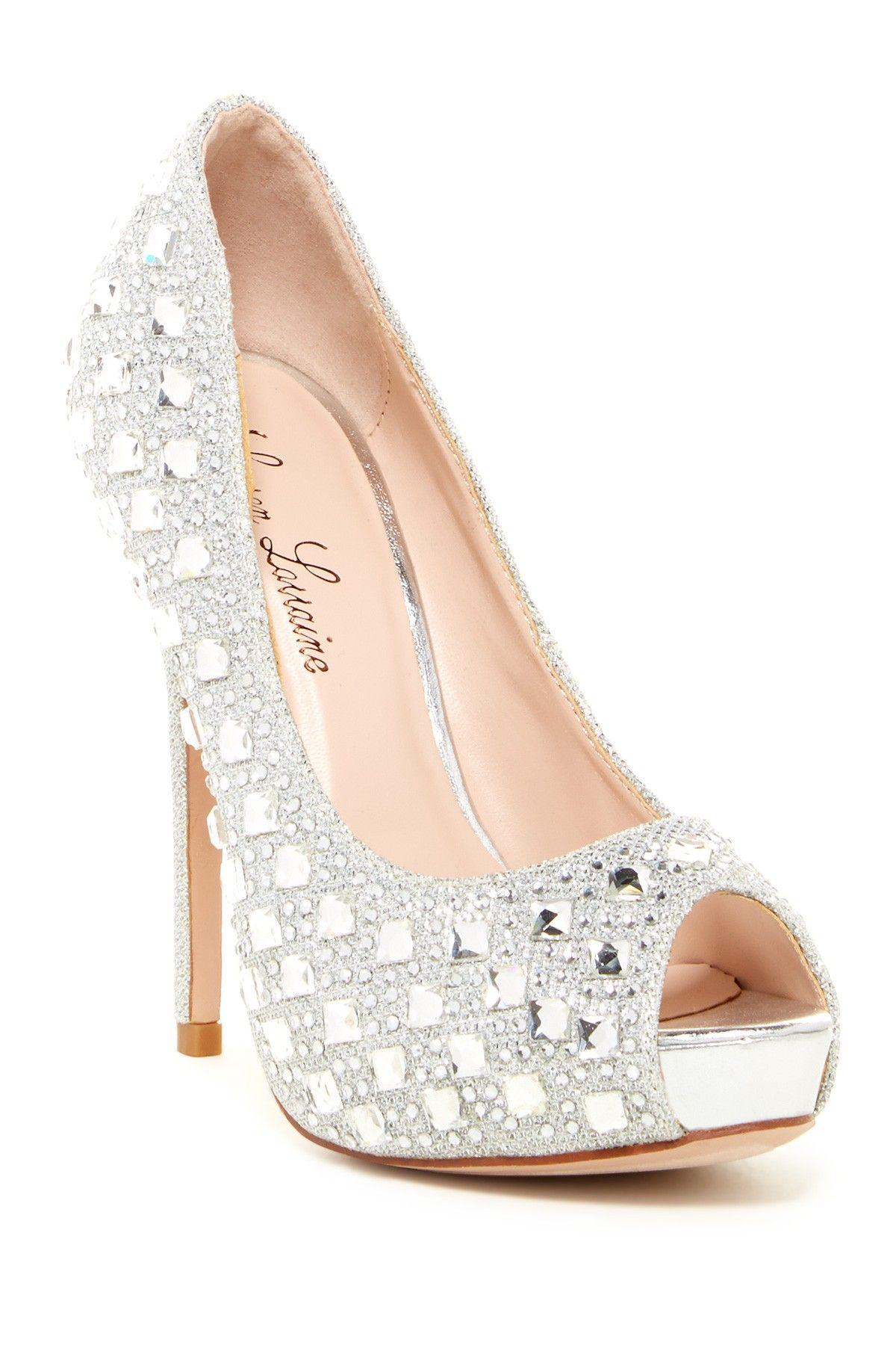 LAUREN LORRAINE Candy White Peep Toe Platform Rinestone Bridal Slingback Pump