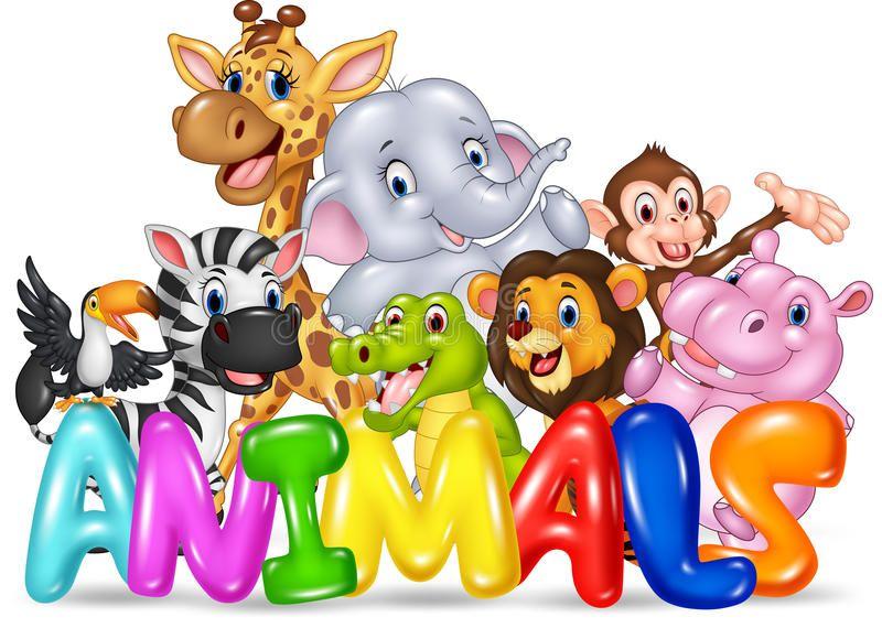 Word Animal With Cartoon Wild Animal Royalty Free Illustration Animals Wild Cartoon Animals Wild Animals Vector