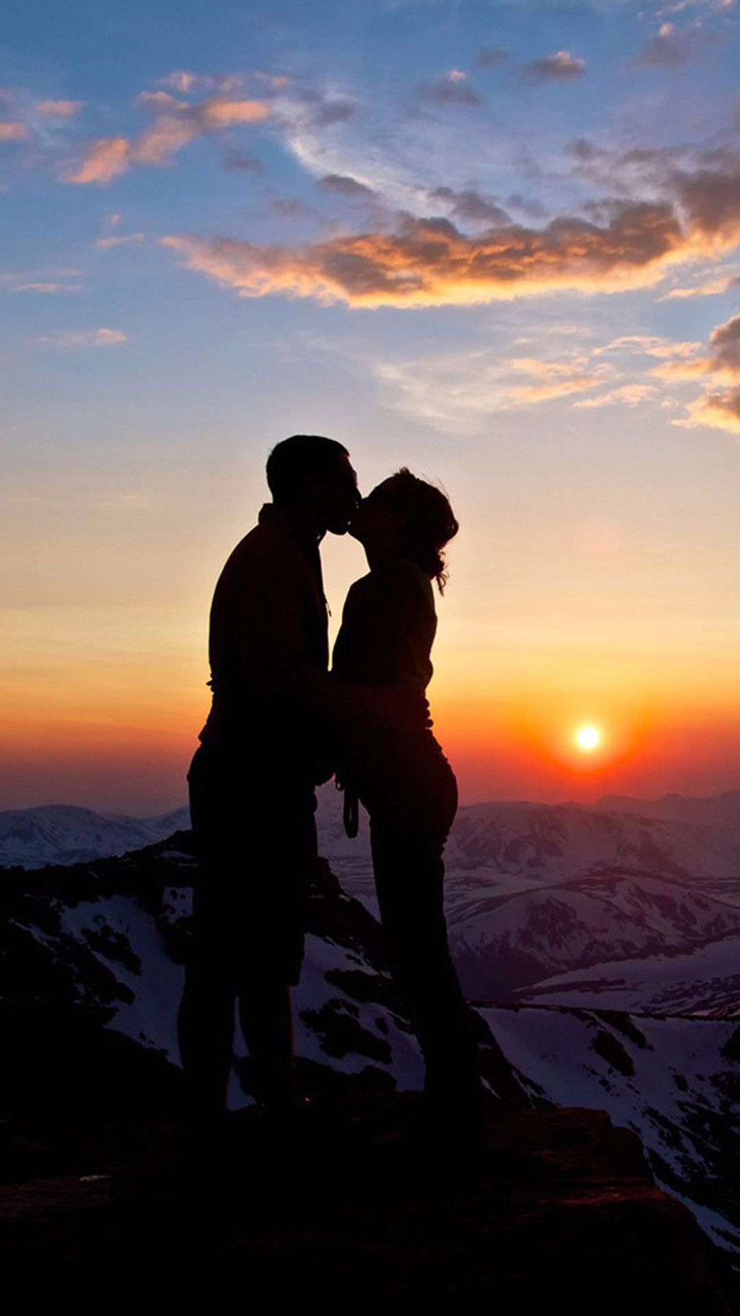 Lover Couple Sunset Snowy Mountain Top Outlines Iphone 6 Wallpaper Download Iphone Wallpapers Ipa Love Couple Wallpaper Background Pictures Sunset Wallpaper Couple love wallpaper hd for mobile