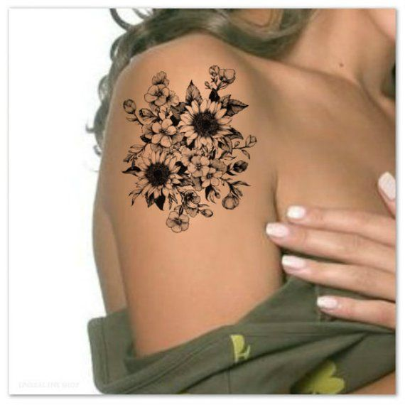 Flower Temporary Tattoo Sunflowers Ultra Thin Realistic ...