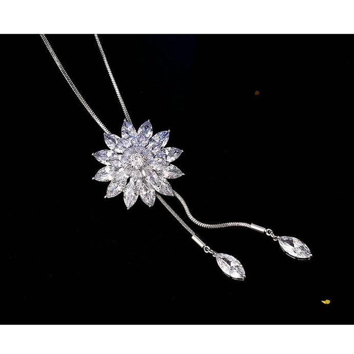 56b751cba75 Women's Elegant Long Adjustable Crystal Snow Pendant Necklace in ...