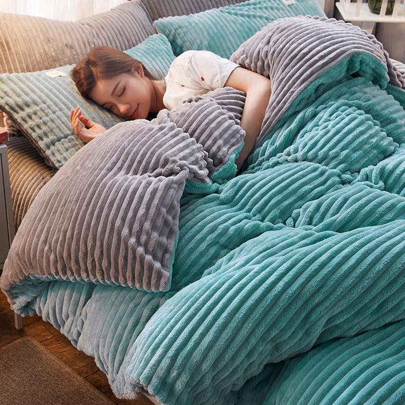 Hot Sale 4pcs Coral Fleece Shearling Bedding Set Quilt Cover Bed Sheet Warm Mink Cashmere Cover Pillowcase Onli Cheap Bedding Sets Bedding Sets Flannel Bedding