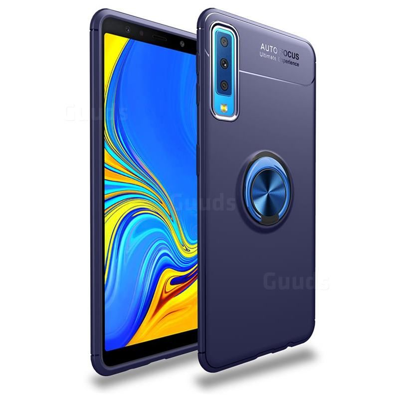 Auto Focus Invisible Ring Holder Soft Phone Case For Samsung Galaxy A7 2018 Blue Galaxy A7 2018 Cases Guuds Samsung Galaxy Samsung Galaxy