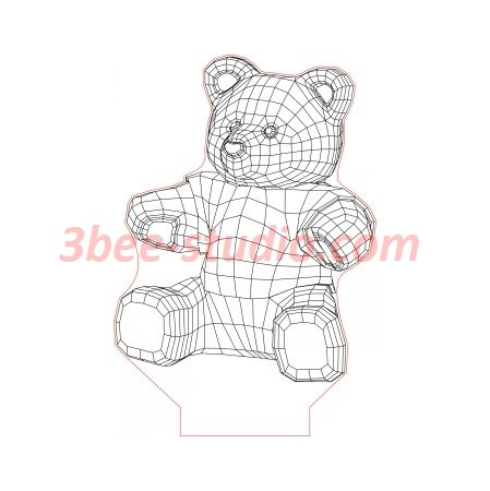 New Teddy Bear 3d Illusion Lamp Plan Vector File For Laser And Cnc 3bee Studio 3d Illusions Illusions 3d Illusion Lamp
