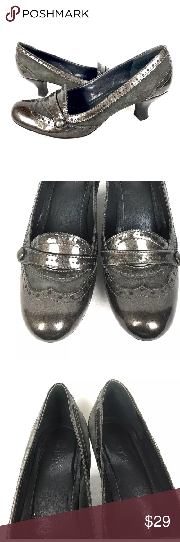 Franco Sarto Gray Patent Leather Heels 8.5 •  Brand: Franco Sarto   •  Color: Gray  •  Size: 8.5 M  •  Material: 100% Genuine Patent Leather Upper  •  Condition: Very Good Condition! (See Photos) Only Slight Marks noted at Heels/toes of shoes Franco Sarto Shoes Heels