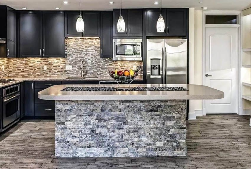 Stacked Stone Design Ideas In 2020 Stone Kitchen Island Stacked Stone Curved Kitchen Island