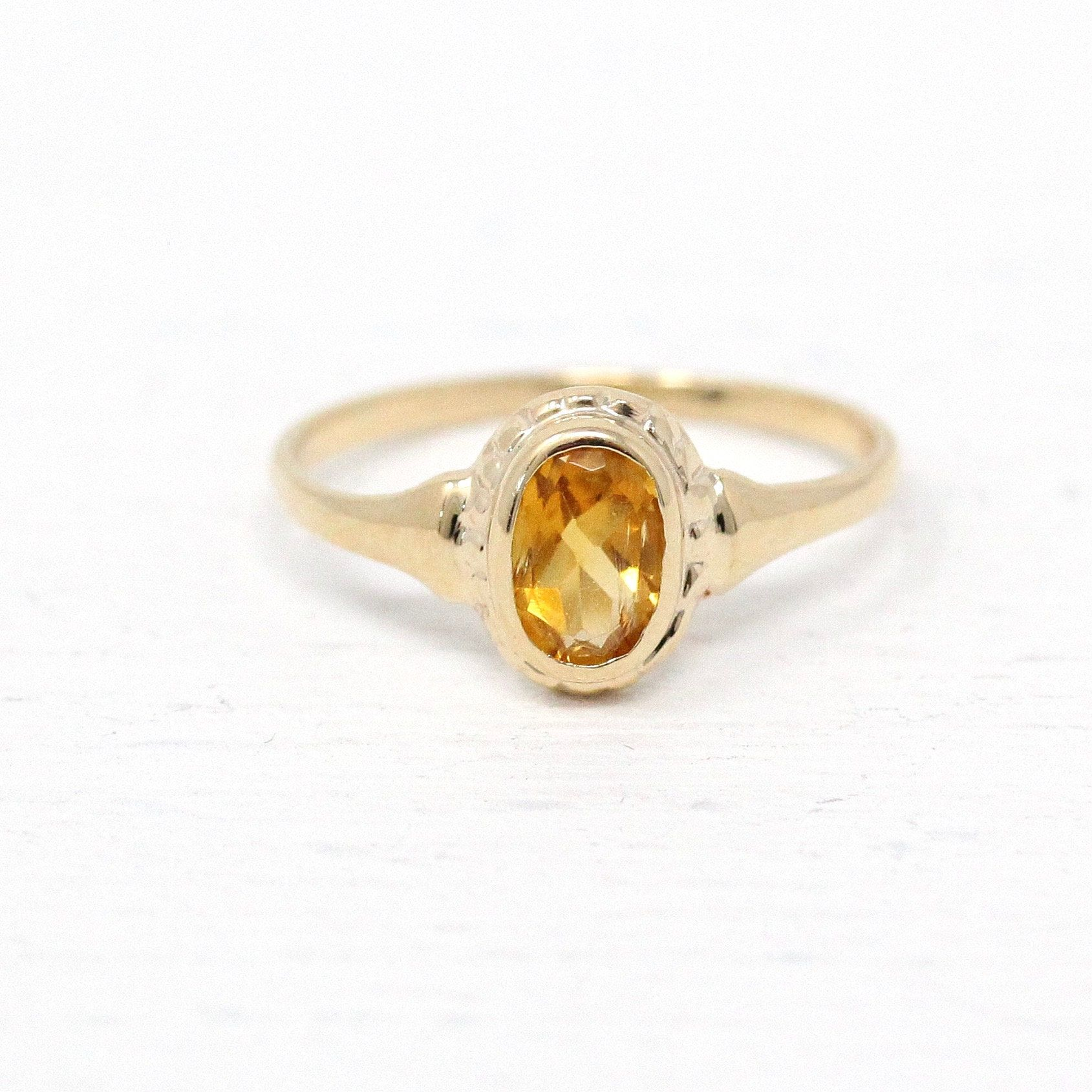 Vintage Citrine Ring Art Deco 10k Yellow Gold 42 Ct Yellow Gemstone 1930s Size 2 Midi Childrens Knuckle Petite Fine Jewelry With Images Rings Yellow Gemstones Gold