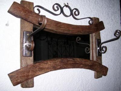 espejo reciclado de maderaforja de hierro