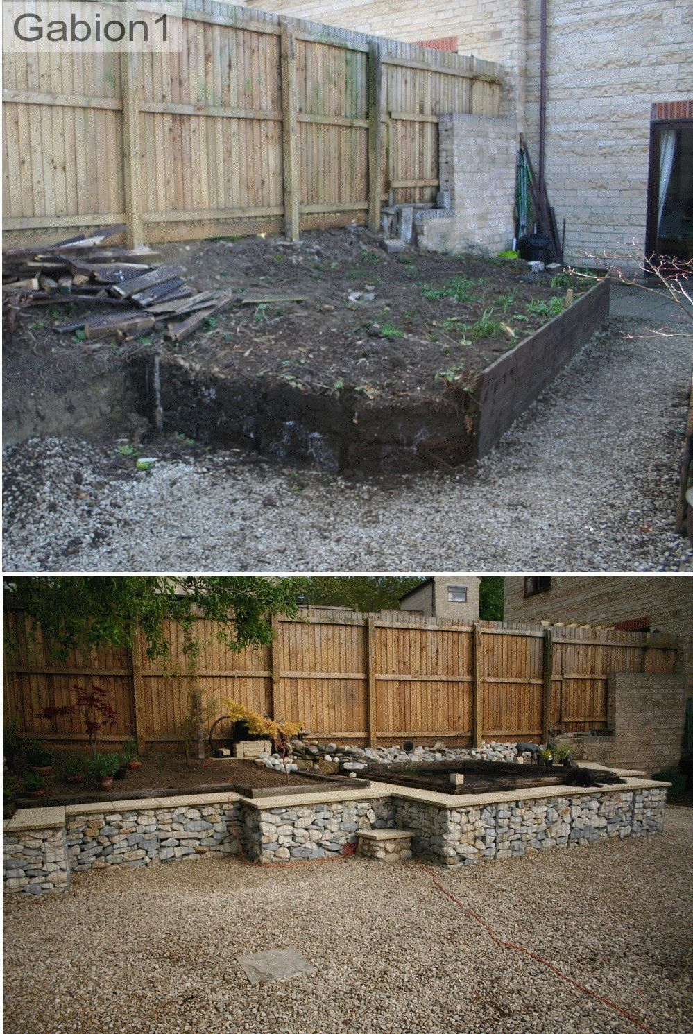 gabion wall before and after shot in stonehouse gloucestershire