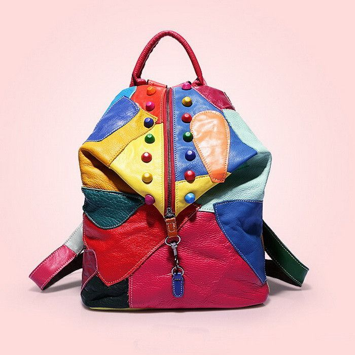 High-Quality Genuine Leather Fashion Design Patchwork Multifunctional Backpack 2 Colors