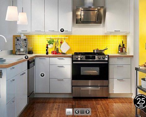 Cocina peque a amarilla hogar pinterest cocina for Cocinas integrales para casas muy pequenas