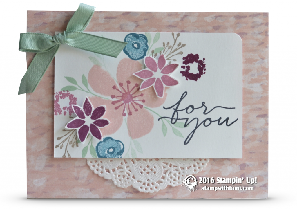 CARD: Beautiful For you card from Blooms and Wishes | Stampin Up Demonstrator - Tami White - ——— S U P P L I E S ———  • Blooms & Wishes Photopolymer Stamps141784 • Garden In Bloom Photopolymer Stamp Set #139433 • Mint Macaron Classic Stampin' Pad #138326 • Sweet Sugarplum Classic Stampin' Pad141395 • Rich Razzleberry Classic Stampin' Pad #126950 • Blushing Bride Classic Stampin' Pad #131172 • Island Indigo Classic Stampin' Pad #126986 • Tip Top Taupe Classic Stampin' Pad #138325 • Whisper…
