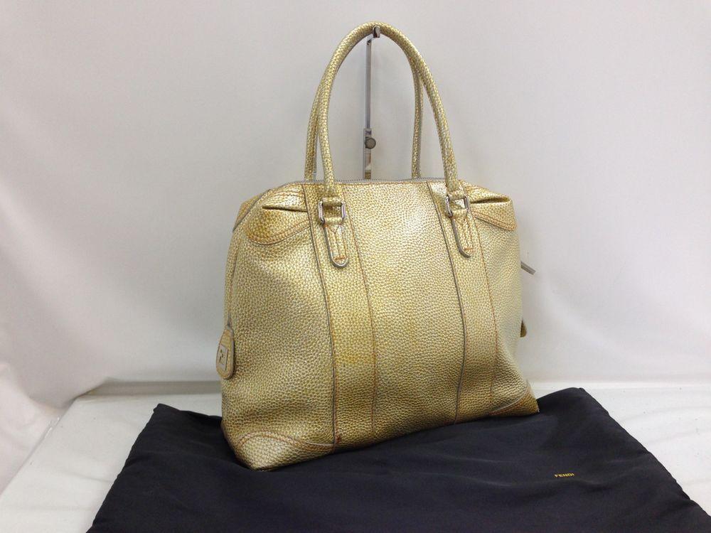 Auth FENDI Leather Shoulder Bag Gold Vintage 8K210230Y  fashion  clothing   shoes  accessories 954fa2a13ce44