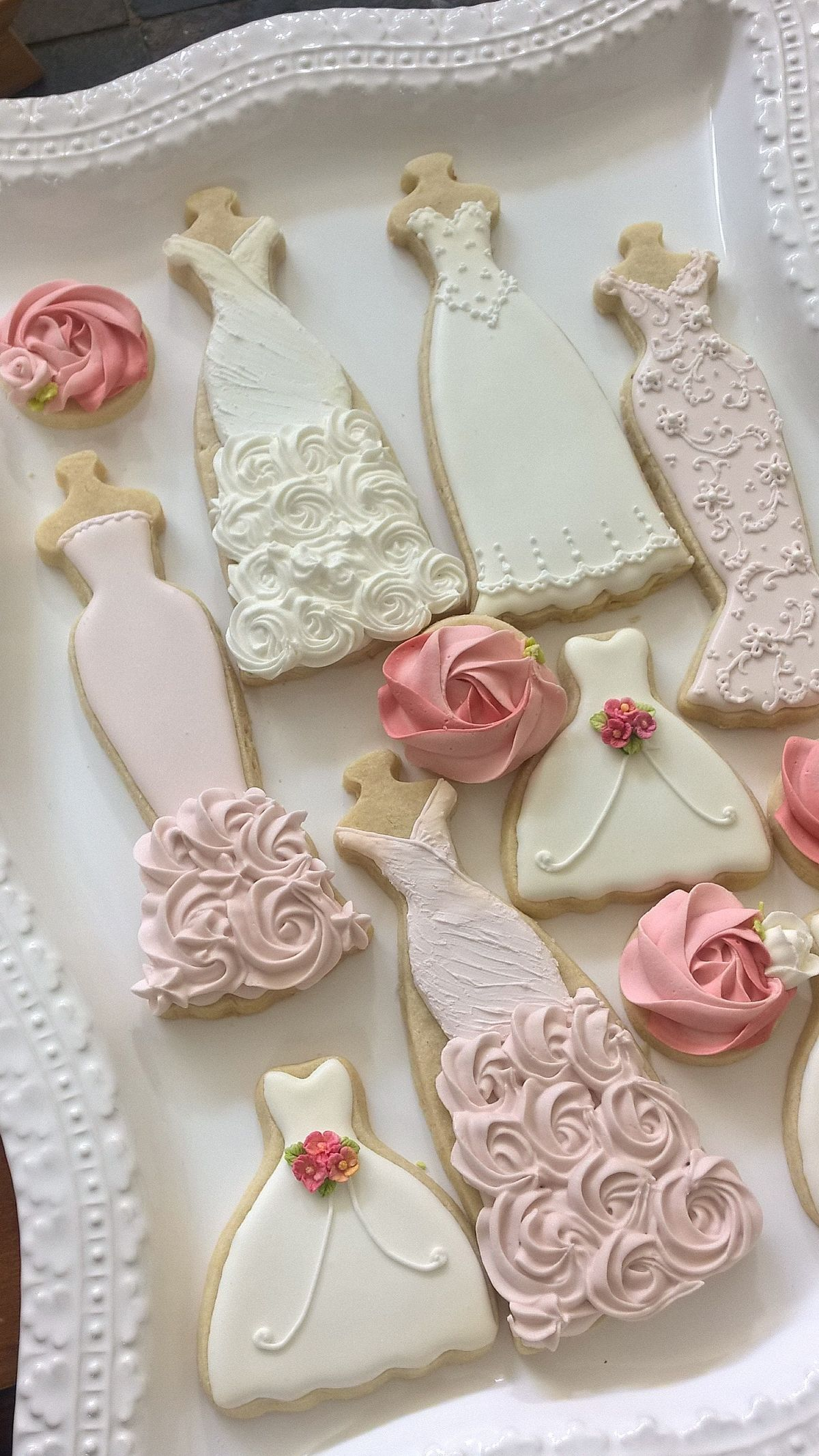 pink and white wedding entourage dress cookies 10 bridal shower cookies