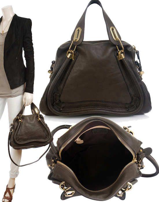 Chloe Paraty Bag In Black Tan Or Rock Medium Sized