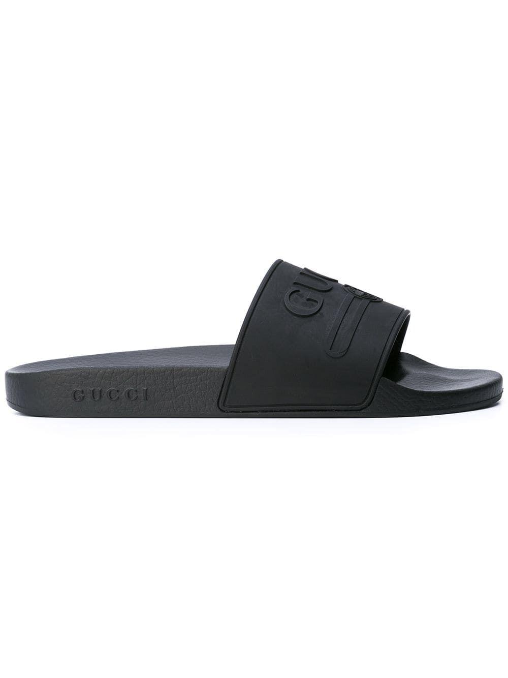 fe2713fce GUCCI GUCCI GUCCI LOGO SLIDES - BLACK. #gucci #shoes   ♡Gucci ♡ in ...