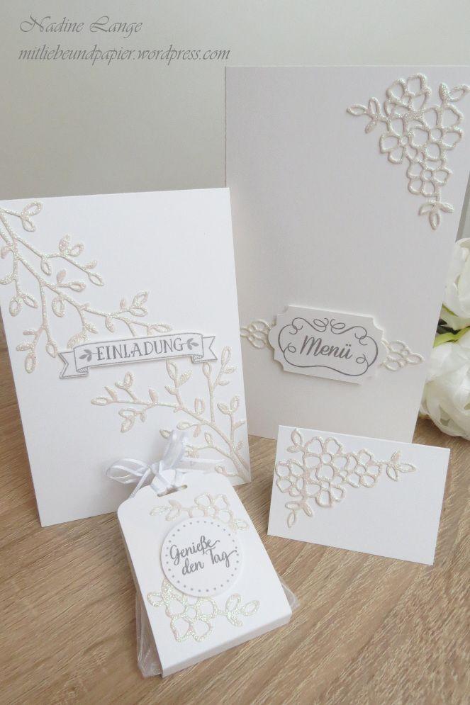 Stamoinu0027 Up! Berlin Hochzeit Einladung Menükarte Gastgeschenk Tischkärtchen  Namensschild Selber Machen DIY Weiß Glitzer