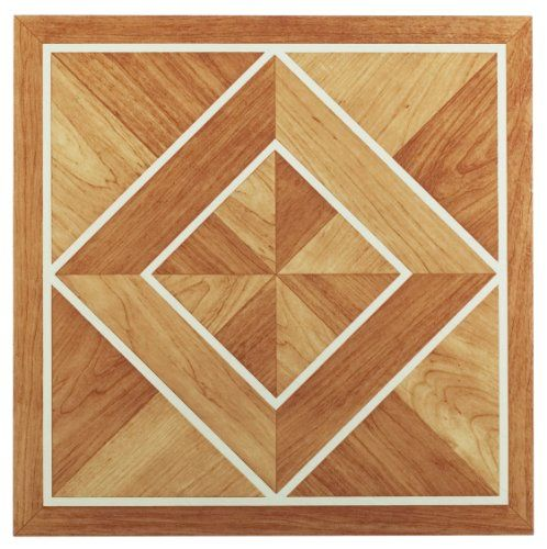 Achim Home Furnishings Ftvwd20520 Nexus 12 Inch Vinyl Tile Wood White Border Classic Inlaid Parquet 20 Pack Achim Home F Vinyl Flooring Tile Floor Vinyl Tile