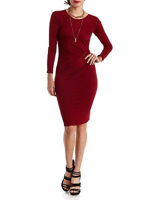 544965f596596 Ruched Long Sleeve Bodycon Dress: Charlotte Russe | Fall Fashion ...