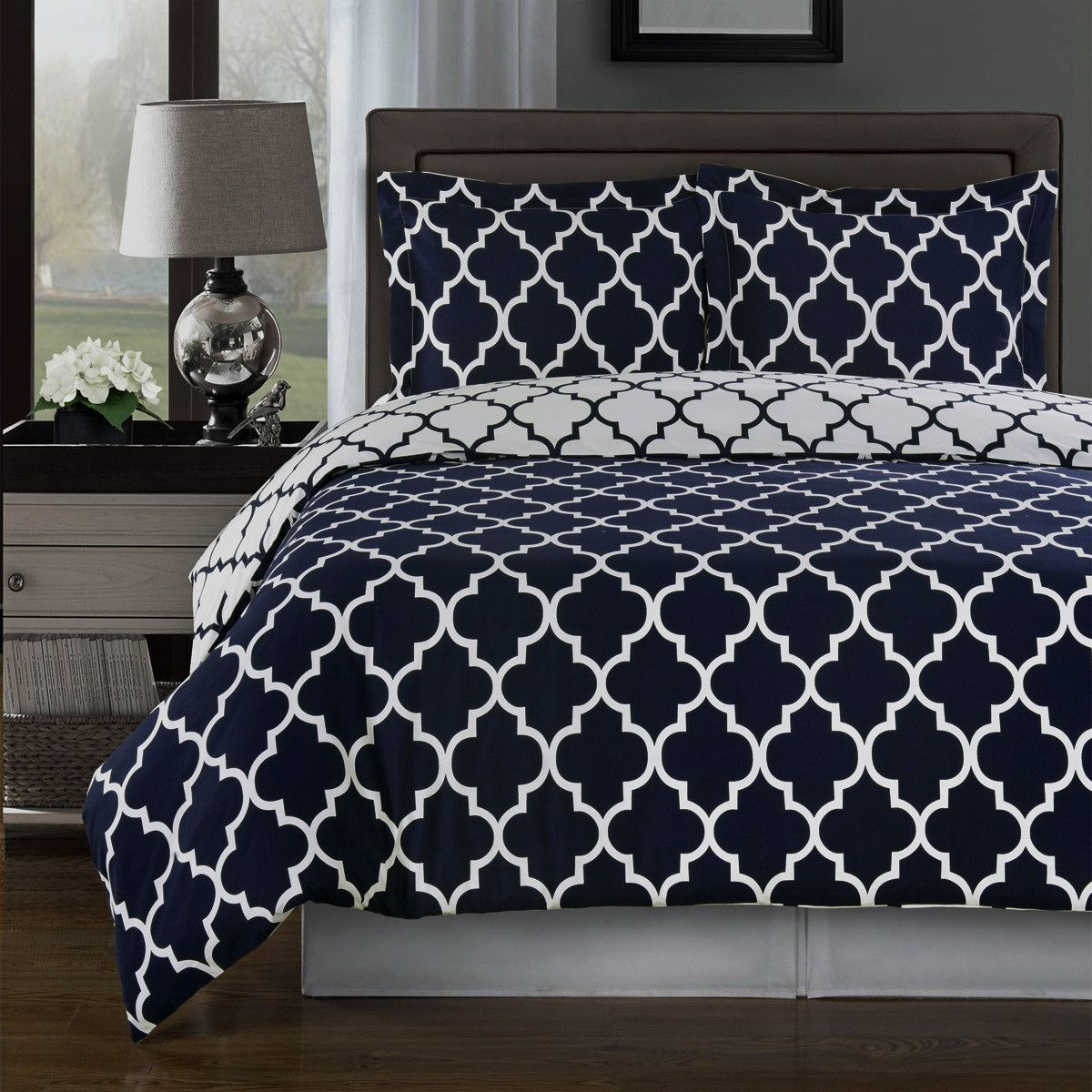 modern moroccan quatrefoil navy blue and white pc cotton duvet  - modern moroccan navy blue and white cotton duvet comforter cover and shamsset  geometric trellis