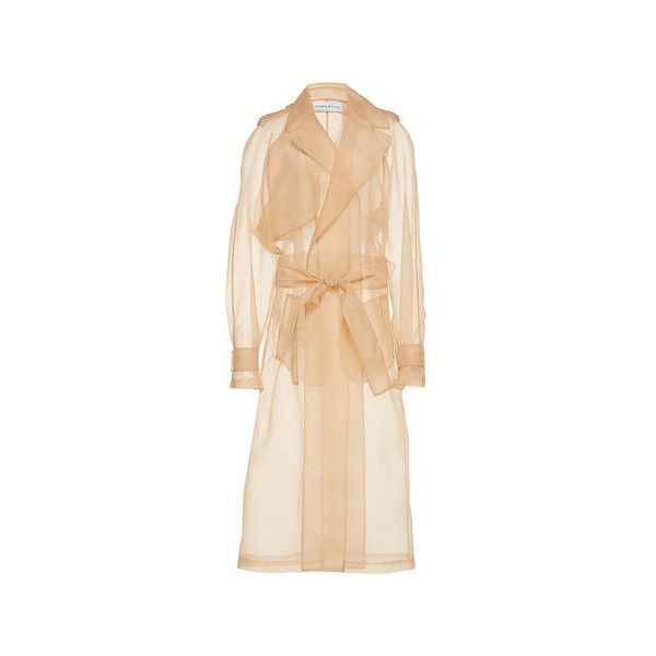 Wanda Nylon     Brook Sheer Trench (4.865 RON) ❤ liked on Polyvore featuring outerwear, coats, trench coat, nylon coat, wrap coat, beige coat and waist belts
