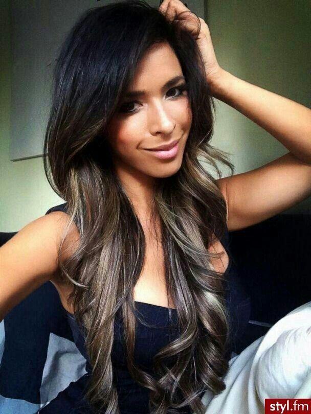 Black Hair With Highlights Underneath Long Hair Styles Dark Hair Hair Styles
