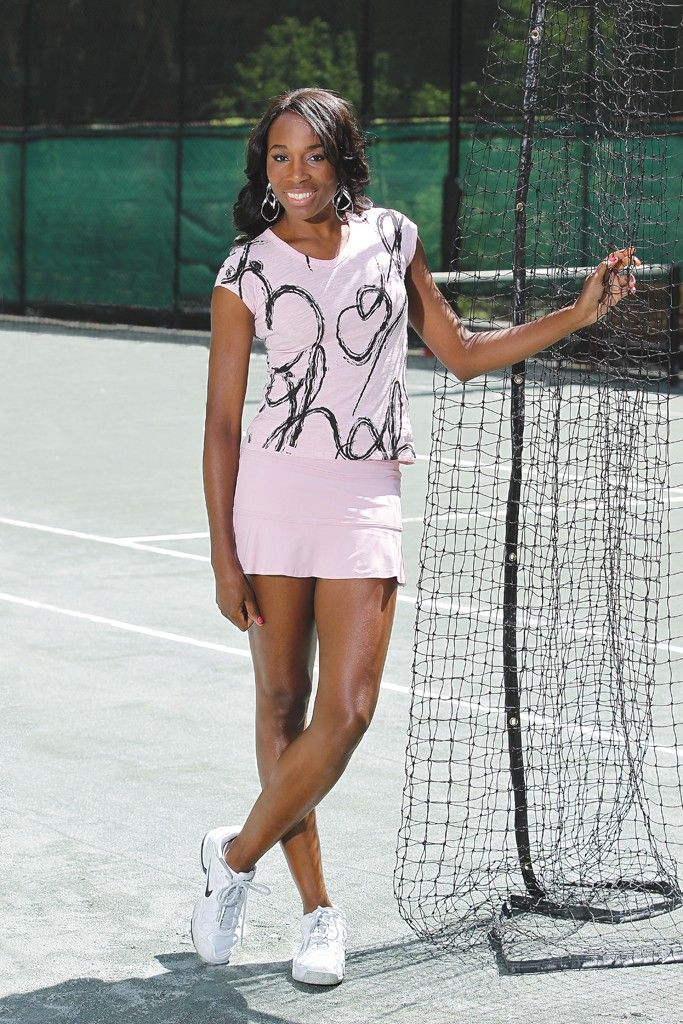 Venus Williams wears EleVen's polyester and spandex jersey top and skirt.