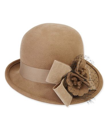10f83305a75 Another great find on  zulily! Camel Blossom   Bow Wool-Blend Cloche ...