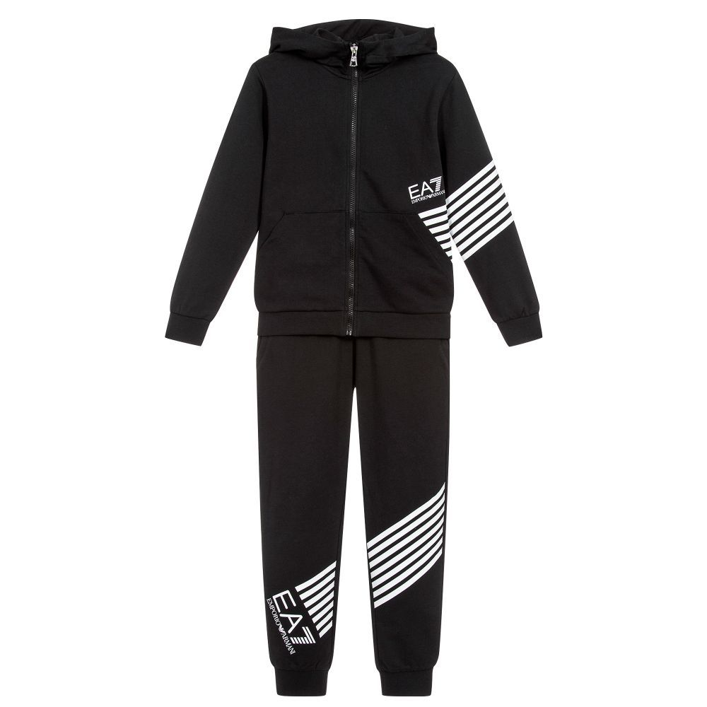 Boys Black Hooded Tracksuit From Ea7 Emporio Armani Made In Soft Mid Weight Cotton Sweatshirt Jersey Bo Designer Tracksuits Cotton Sweatshirts Emporio Armani [ 1000 x 1000 Pixel ]