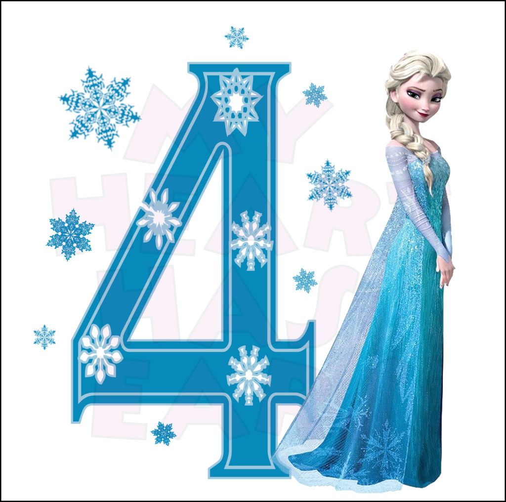 Disney S Frozen Elsa Birthday With Number 4 Instant Download