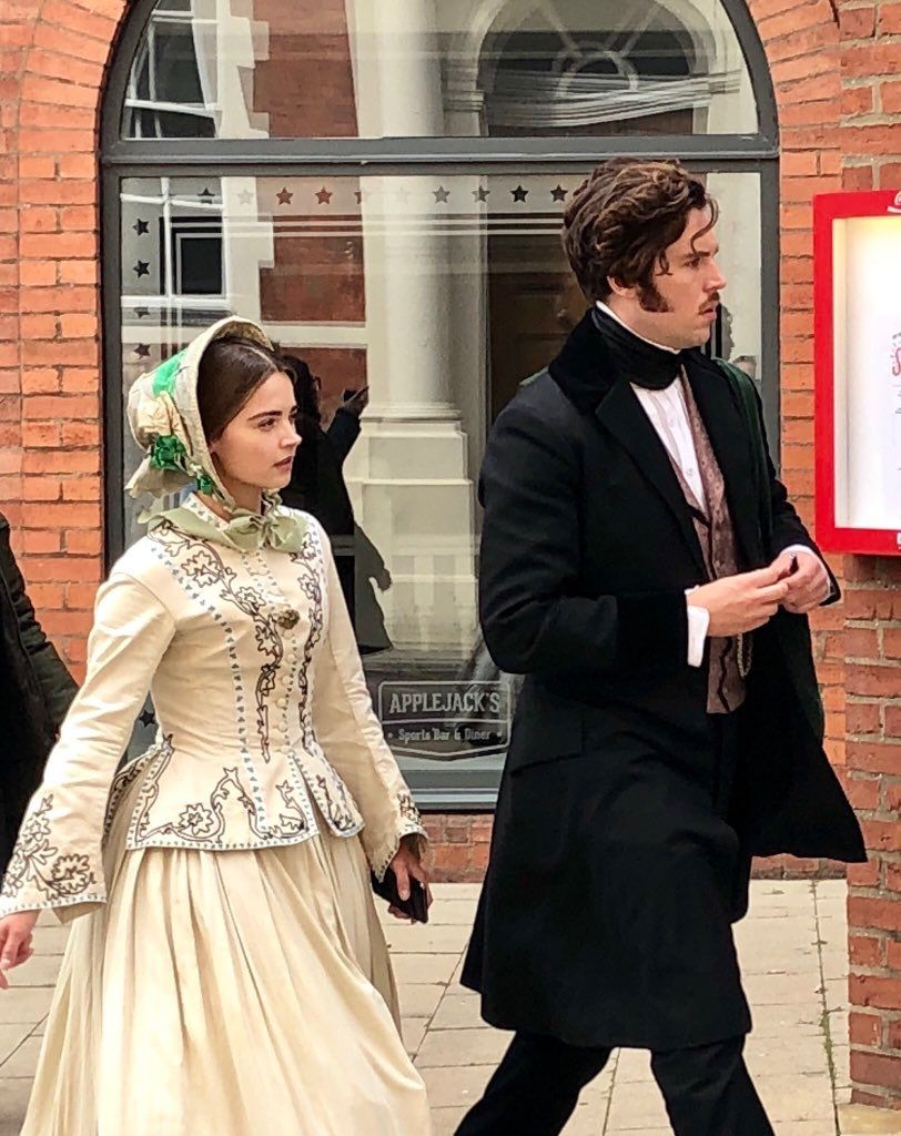 Jenna Coleman and Tom Hughes filming Victoria in York ...