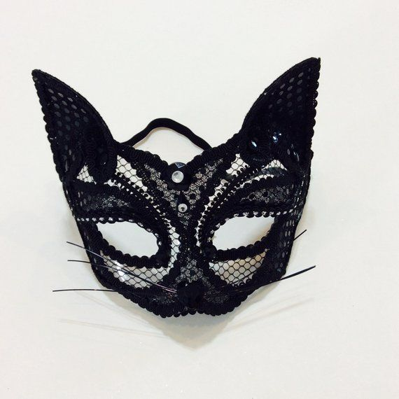 b6a48b1b27b23 Black cat mask, cat mask, sexy cat mask, masquerade mask, cat half mask,  Halloween mask Just pair an all-black outfit with this chic mask for a  perfect ...