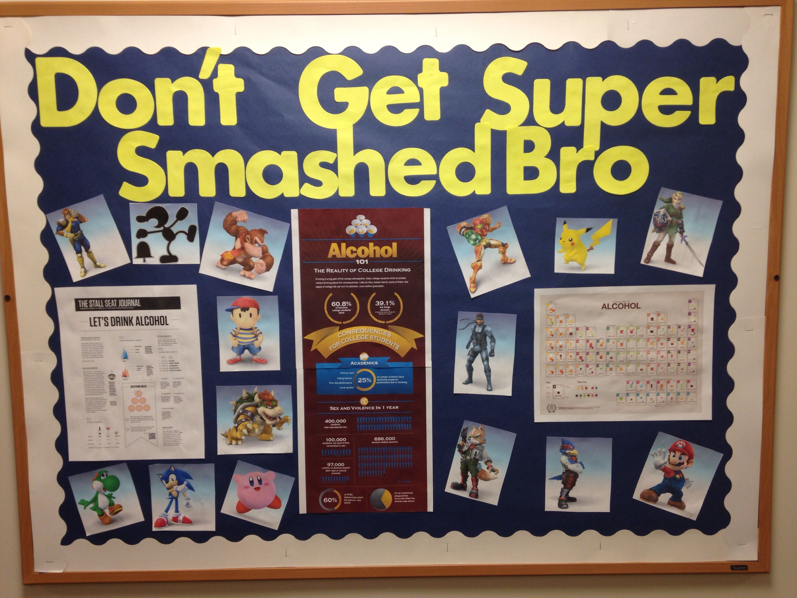 Don't Get Super Smashed Bro Alcohol Awareness RA Bulletin Board #rabulletinboards #rabulletinboards