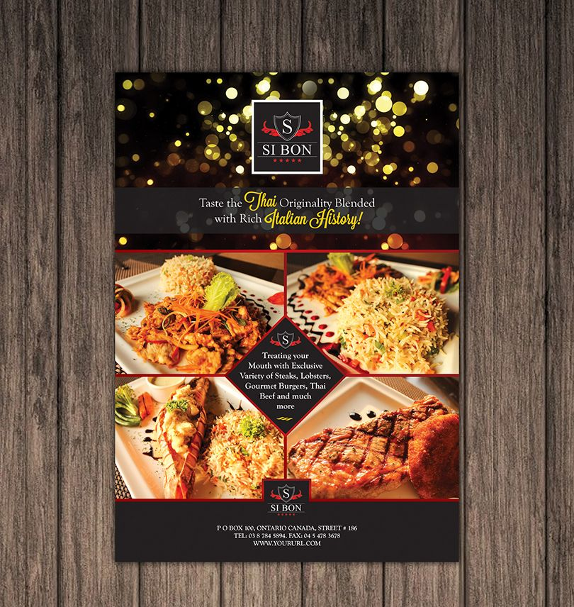 Hotel Restaurant Flyer Design Template 2 Brochures And